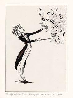 """""""Le Chef d'orchestre. Finale."""", Encre de Chine sur film rhodoïd, 18X24 cm, Série limitée à 100 exemplaires, 35€ (cadre noir, offert)"""