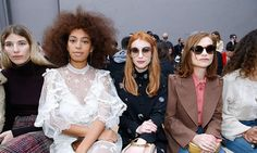 Solange Knowles in the FROW at Chloé with Emma Roberts and Isabelle Huppert.