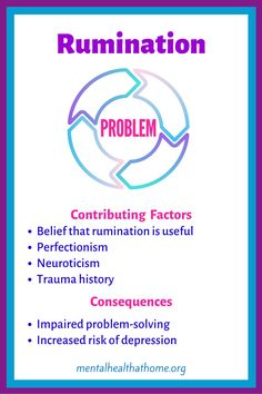 This post looks at some of the contributing factors and consequences to rumination, a common thought pattern in depression that involves chewing a problem over and over and over again. #rumination #depressionsymptoms #psychology #thinking Psychiatric Medications, Cognitive Distortions, Depression Symptoms, Bipolar, Self Esteem, Ayurveda, Problem Solving, Factors, Disorders