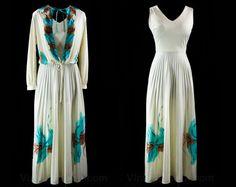 Hand Painted 70s Maxi Dress & Jacket - Size 9 to 10 - Sleeveless Dress - Blouson Jacket - Turquoise - Brown - Ivory - Crystal Pleats - 43119