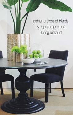 Spring is just around the corner, to celebrate the end of the cold weather,here's our distinctive dining Spring offer. Crows Nest store only. Cleo Ebony Round Table  Was $1750  Now $1250 Cleo Ebony or Linen Dining Chair  Was $395 Now $245  http://www.orsonandblake.com.au/2-1_furniture.htm
