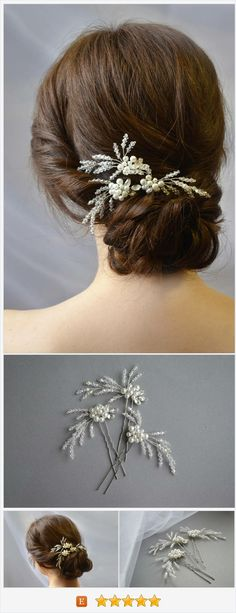 These bridal hair pins can be styled in various ways according to your own hair type. They are also perfect for bridesmaids and mother of bride. #weddingaccessories #etsysellers #handmade #bridetobe #weddinghair #engaged #bridesmaid #bride #weddinginspiration #hairaccessories #instabride #hair #weddingjewelry #etsy #jewellery #hairpin #silverjewelry #weddingideas #shop #shopetsy #etsyfinds #bridalstyle #bridalhairpiece #hairpiece #weddinghairpiece #novahandmade…