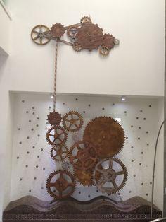 Steam punk clock  Watch mechanism on wall Sculpture. #design #interiordesign # watch By Ashish Sanklecha
