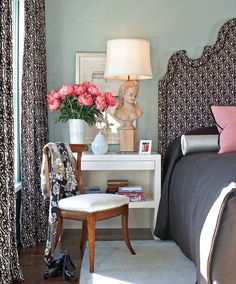 love the flowers and bedroom chair House of Turquoise: Brown and Blue...and Pink!