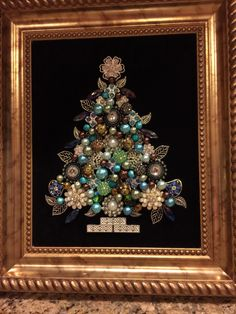 Tree in aqua and brown. Made by B. Turchi 2014