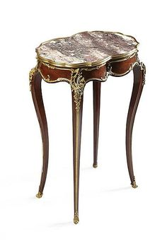 FRENCH LOUIS XVI STYLE AMARANTH, GILT BRONZE AND MARBLE TABLE IN THE MANNER OF FRANCOIS LINKE LATE 19TH CENTURY 50cm wide, 78cm high...