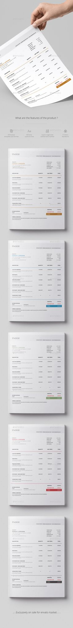 Invoice by neegix InvoiceThe page design are easy to use and customise, you can quickly adapt your invoice for any opportunity. All layers are orga Invoice Design, Invoice Template, Templates, Page Design, Designs To Draw, Stationery, Photoshop, Proposals, This Or That Questions