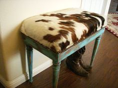 Cowgirl Chic Cowhide and Turquoise Piano Bench Seat- made to order - Western Decor Cowhide Decor, Cowhide Furniture, Western Furniture, Cowhide Bench, Cabin Furniture, Furniture Design, Rustic Furniture, Accent Furniture, Piano Stool