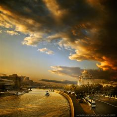 Moscow River near Cathedral (Christ the Savior Cathedral) by inObrAS.deviantart.com on @deviantART