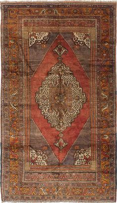 Hand-knotted Anatolian Vintage Dark Copper Wool Rug