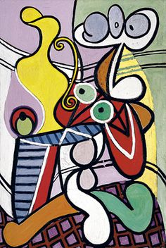 Pablo Picasso, Great Still Life on Pedestal, 1931. This artwork uses freeform shape to distort objects such as the water pitcher and the table. The effect of this distortion is that it looks soft and squishy like soft candies. Mrs C