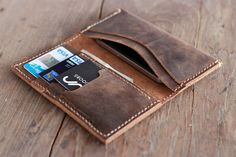 Leather Wallet -- Groomsmen Gift -- iPhone 5s -- Wallets for Men - 013 - Handmade Leather Wallets