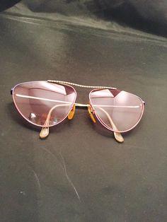 fe0ba2bf78d Aviator Sunglasses Rose Tinted Lenses Gold Metal Frames Vintage Mod Fashion  Accessory Eyewear Metal Frames