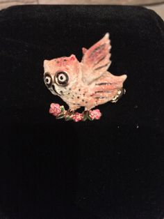 """40s to 50s Vintage Figural Owl Pin Brooch Hand Painted Metal Marked """"Foreign"""" 