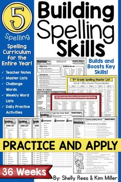 5th grade Spelling and Vocabulary program: NO PREP spelling lessons and printables for the entire YEAR. Everything you need for a complete spelling curriculum is included: weekly lesson plans, spelling lists, sample sentences, worksheets, word work, tests, and more! Just PRINT and GO!