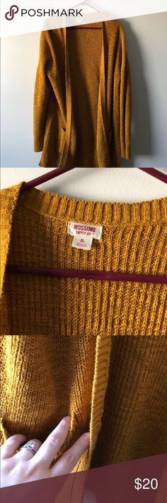 Oversized cardigan mustard color Gently used mustard color oversized women's cardigan. It's long- comes down past the booty (I'm 5'7) super fun pretty color! Mossimo Supply Co Sweaters Cardigans