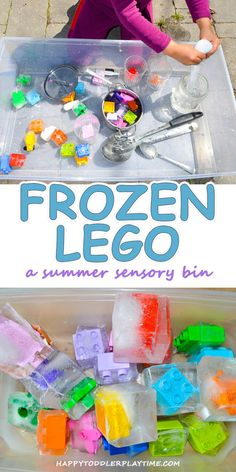Frozen Lego – HAPPY TODDLER PLAYTIME - This is a fun and easy summer sensory bin activity using Lego pieces frozen in ice! Great fine motor skill activity for toddlers and preschoolers.