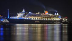 RMS Queen Mary 2 at night