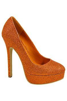 Amazing ORANGE Shoes on BTR! :  wedding glitter orange shoes shoes sparkly MISVIBE2ORANGE 1