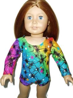 Sparkly Gymnast leotard fits American girl doll clothes Colorful Stars