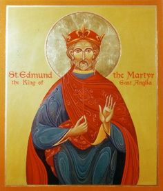 Saint of the Day – November 20 – St Edmund the Martyr- Patron of various kings, pandemics, torture victims and wolves, the Roman Catholic diocese of East Anglia, the English county of Suffolk, Douai Abbey, Toulouse – Death: 869 #pinterest Martyred king of the East Angles. He was elected king in 855 at the age of fourteen and began ruling Suffolk, England, the following year. In 869 or 870, the Danes..............| Awestruck Catholic Social Network