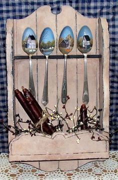 Love these Hand #Painted #Spoons on a rustic Spoon Rack - I'd do the rack decor a bit differently, but love this for inspiration - #upcycle #repurpose #silverware #spoons #decorative #painting #SpoonRack - tå√