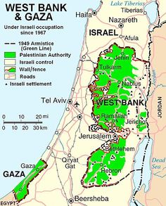 Map showing the West Bank and Gaza. Palestinian Authority areas in green. Israeli control in beige. Map also shows walls, fences, and roads as well as Israeli settlements. Israel Palestine Conflict, Palestine Map, Israel Gaza, Jerusalem Israel, Israel Trip, East Jerusalem, Israel Travel, Haifa, Heiliges Land