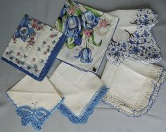 Lot of 6 Blue Hankies with Flowers and Crochet by dandelionvintage