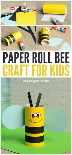 Cute Toilet Paper Roll Bee Crafts For Kids . - Cute toilet paper roll bee craft for kids bees paper - Bee Crafts For Kids, Craft Activities For Kids, Summer Crafts, Toddler Crafts, Toddler Activities, Preschool Activities, Diy For Kids, Fun Crafts, Arts And Crafts