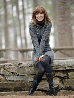 Fall, Winter, Fashion, Lace up Riding Boots, Sweater Dress, Tights