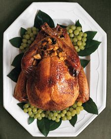 After the first 30 minutes of roasting, if no butter has accumulated in the roasting pan, melt four tablespoons unsalted butter and add three tablespoons turkey stock; baste with this mixture.