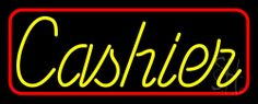 Cursive Red Cashier Neon Sign 13 Tall x 32 Wide x 3 Deep, is 100% Handcrafted with Real Glass Tube Neon Sign. !!! Made in USA !!!  Colors on the sign are Yellow and Red. Cursive Red Cashier Neon Sign is high impact, eye catching, real glass tube neon sign. This characteristic glow can attract customers like nothing else, virtually burning your identity into the minds of potential and future customers.