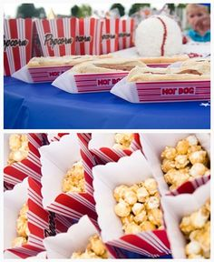 birthday parties, food, birthdays, basebal parti, baseball party, goodie bags, parti idea, hot dogs, themed parties
