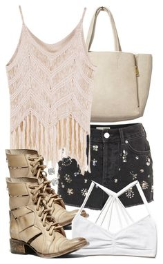 """""""Malia Inspired Rave Outfit"""" by veterization ❤ liked on Polyvore featuring moda, Free People, Topshop y Steve Madden"""