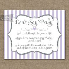 Don't Say Baby Shower Game - Navy Blue & Gold Glitter - Printable Baby Shower Games - Instant Downlo, Lavender Baby Showers, White Baby Showers, Baby Shower Purple, Star Baby Showers, Baby Boy Shower, Purple Baby, Cute Baby Shower Games, Baby Shower Items, Baby Shower Checklist
