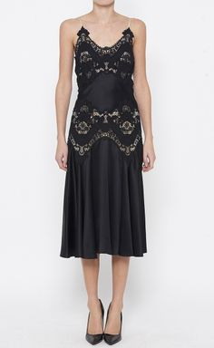 Alexander McQueen Black Charmeuse Dress