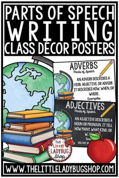 These beautiful Parts of Speech Posters in chalkboard traditional décor theme or in white tradition classroom décor theme are PERFECT for your classroom! You will love having these posters in your classroom on display! #partsofspeechposters #partsofspeech