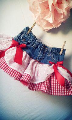 etsy jean and gingham skirt baby   Li'l Red- Tutu Skirt- Infant - Toddler - Girls - Tweens - Teens