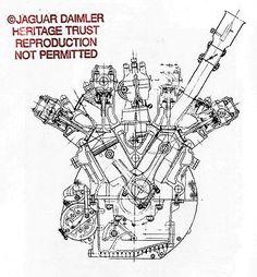 - Building the Legend Jaguar V12, V12 Engine, Technical Drawings, Engineering, Cutaway, Quad, Contemporary Design, Illustrator, Garage