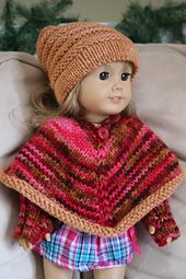 This Poncho fits any American Girl doll and makes a fast and easy knitted gift.