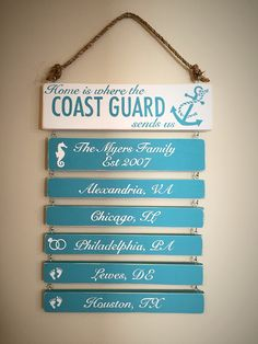 "Pretty Coastal/Beachy colors military ""Home is where the Coast Guard"" sends us wooden hand painted sign. Custom colors! BayouDoll Creations on Facebook"