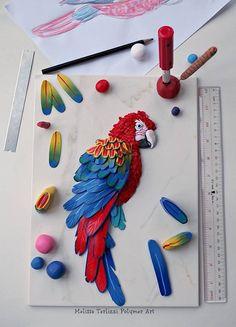 Scarlet macaw WIP | Melissa Terlizzi, polymer clay