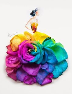 Arte floral by Limzy. Arte Floral, Flower Petals, Flower Art, Art Flowers, Floral Flowers, Arte Fashion, Rainbow Roses, Whimsical Fashion, Flower Fashion