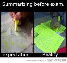 Summarizing before an exam…