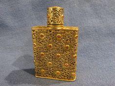Vintage Schiapparelli Perfume Bottle Gold Lace Overlay Crystals Rhinestones   #BookofLostFragrances #suspense #novel