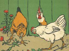 """Cecil Aldin 1915 """"The Gardeners"""" Original Antique Chickens Print Art Plate Rare"""