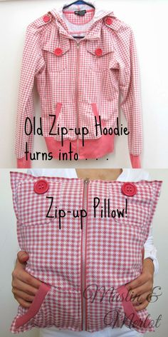 Upcycle Old Hoodies into Pillows! by Muslin & Merlot