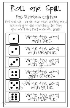 Roll and Spell RAINBOW edition from Classity Class on TeachersNotebook.com (1 page)