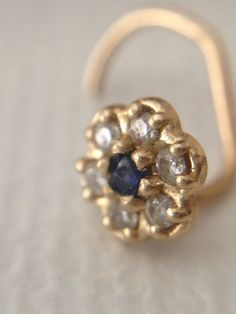Diamond Nose Pin stud with Blue Sapphire in 14K by dSparkles