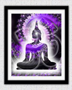 Purple Buddha print lavender purple Buddha by theartofthematrix